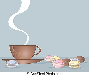 macaroons and coffee - a vector illustration in eps 10...