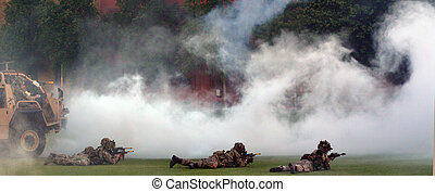 British Army force during military demonstration show -...
