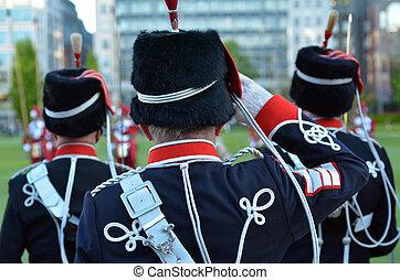 luz, caballería, HAC, saludo, Durante, Un, desfile,...