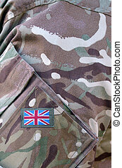 British Army soldier camouflage uniform with the national...