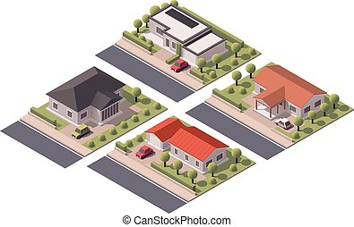 Vector isometric houses set - Isometric icon set...