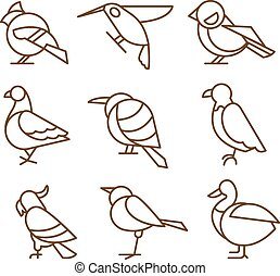 Bird Icons, Thin Line Style, Flat Design - Bird icons, thin...