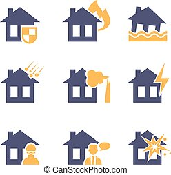 Home and House Insurance Risk Icons - Home and house...