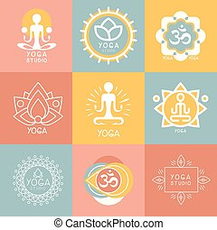 Set of Yoga and Meditation Symbols - Set of yoga and...