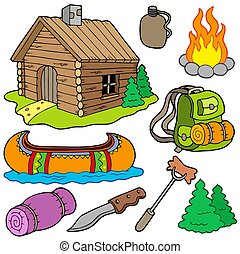 Collection of outdoor objects - isolated illustration.
