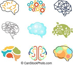 Brain Icon  - Brain icon set vector illustration