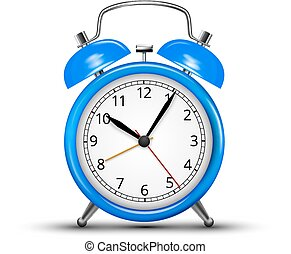 Alarm Clock - Vector Alarm Clock Classic Blue Colored Design...