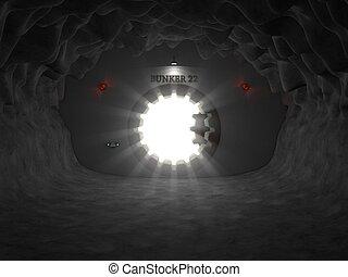 bunker entrance in cave. (opeden door version)