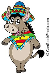 Dancing Mexican donkey - isolated illustration.