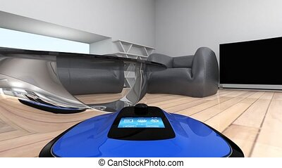 Robot vacuum cleaner in room - Camera on a robot vacuum...