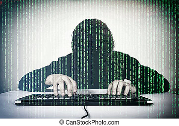 Movking hacker - Hacker typing on the keyboard and mocking