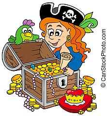 Pirate woman opening treasure chest - isolated illustration