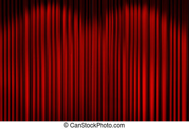 Red curtain in theater. - Red curtain with spot light on...
