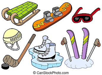 Winter sports collection - isolated illustration.