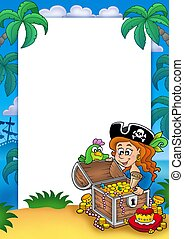 Frame with pirate girl and treasure - color illustration.