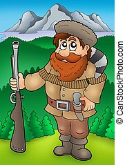 Cartoon trapper with mountains - color illustration.
