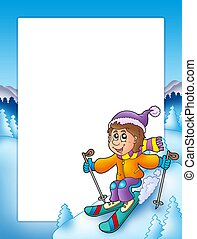 Frame with cartoon skiing boy - color illustration.