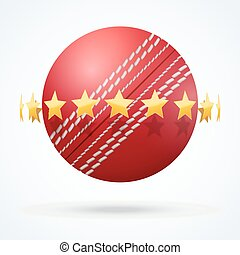Vector illustration of cricket leather ball with golden...