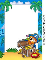 Frame with pirate and treasure - color illustration.