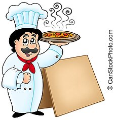 Chef holding pizza with table