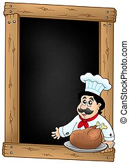 Blackboard and chef with meal - color illustration.