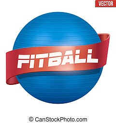 Label of Classic blue Fitball with ribbon Vector...