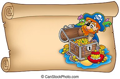 Old scroll with pirate and treasure - color illustration.