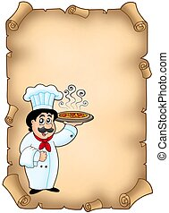 Parchment with chef holding pizza