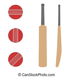 Traditional wood cricket bats and balls. - Set of...