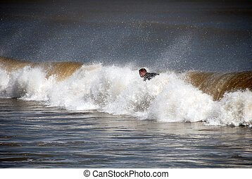 Surfer in Galveston, Texas, 2008