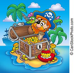 Pirate and treasure - color illustration.