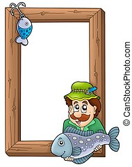 Wooden frame with fisherman