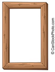 Simple wooden frame - color illustration.