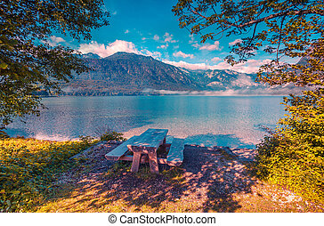 Resting place on the coast of Bohinj lake in Triglav...
