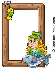 Wooden frame with fisherwoman