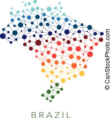 dotted texture Brazil vector background  on white