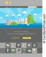 Rio de Janeiro web template vector - Rio de Janeiro colorful...