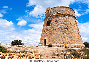 Torre de Sa Sal Rossa tower in Ibiza Town, Spain - a view of...