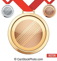 Gold Medal with the symbol of a cricket inside - Three...