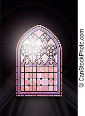 Stained glass window with sunlight