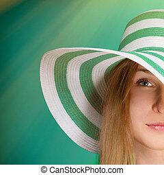 Girl in a green hat the beach strip square - Girl in a green...