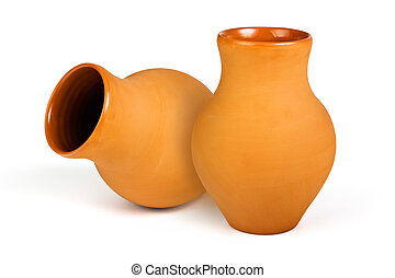 Clay jug - Two ceramic jug of milk and water isolated on...