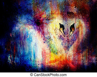 Romantic two swans on color abstract structure background....