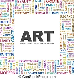 ART. Word cloud illustration. Tag cloud concept collage.