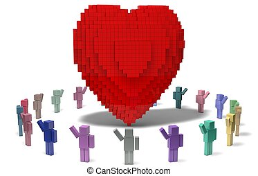 simple 3d cubic characters builded big heart for valentines...