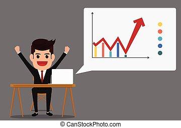 Successful business growth chart. Cartoon Vector...