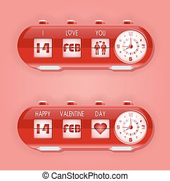 Valentine day with table flap clocks and number counter -...