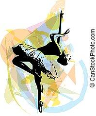 balé, dançarino, Ilustração,