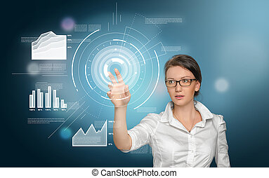 Woman working with digital screen - Smart-looking woman is...