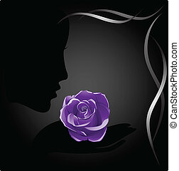 Violet rose and shadow girl Vector Image